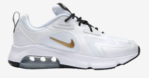 Nike-Air-Max-200-White-Metallic-Gold-Black-Men-s-Shoes-AQ2568-102-sz-8-13