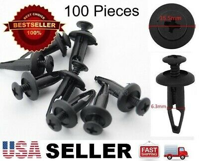 Set of 100 Rivet Fastener Bumper Mud Guard Retainer Push Clips For Ford N803946S