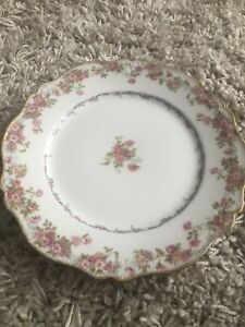 Two-Limoges-8-5-Plates-Pink-Rose-GDA-CH-Field-Haviland
