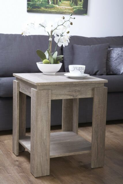 Lamp Table Dark Wood Textured Finish Oak Effect Coffee Side End Canyon