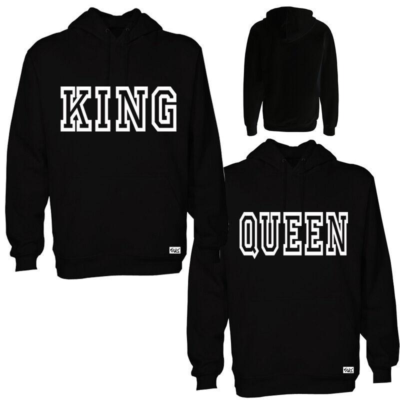 2x eaks ® Hoody  immagine    1x King + 1x Queen  NERO partner Look Con Cappuccio Pullover 58d2d5