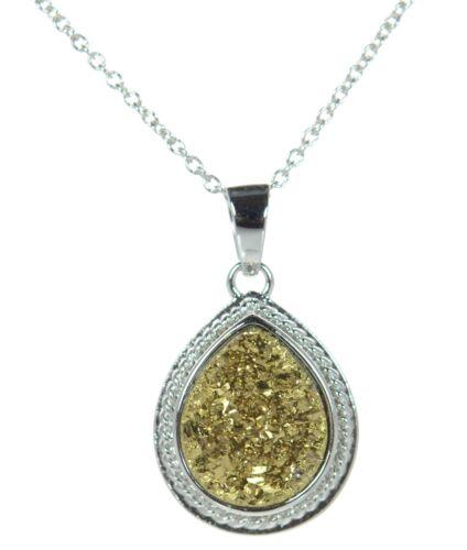 Solid 925 Sterling Silver Teardrop Gold Druzy Pendant Necklace /'