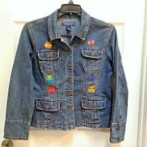 Denim-Jeans-Jacket-Size-Large-Women-039-s-Cat-lover-039-s-UP-Cycled-Re-fashioned