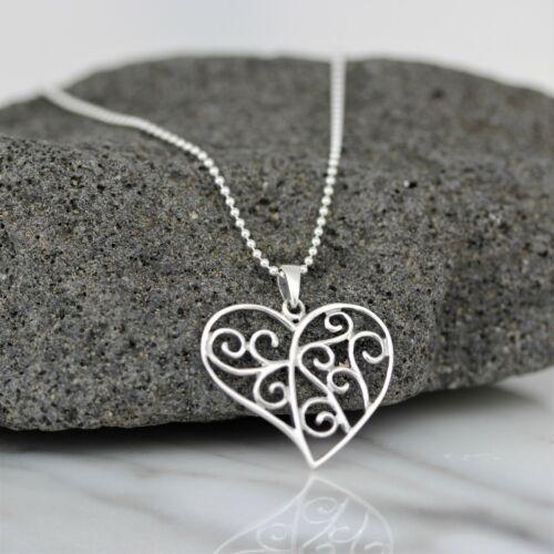 Auténtica Plata de ley 925 Corte Corazón Colgante Collar Cadena de Bola /& italiano