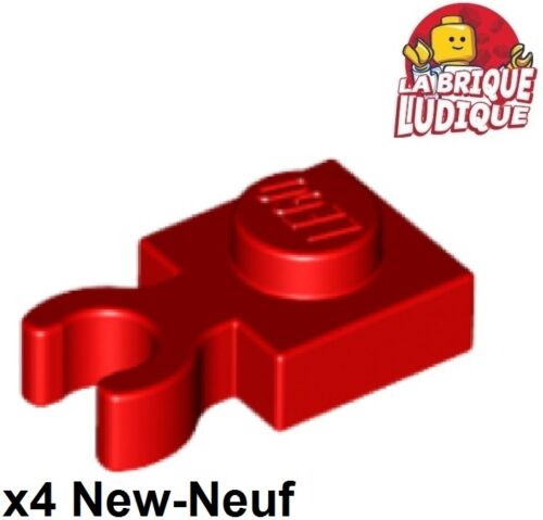 4x Plate Modified 1x1 Clip Vertical O clip crochet rouge//red 4085d NEUF Lego