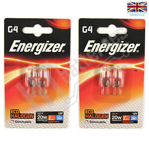 4 x energizer g4 eco 20w halogen capsule bulb 280 lumens 12v lamp warm white ebay. Black Bedroom Furniture Sets. Home Design Ideas