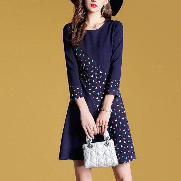 Elegante vestito abito scampanato coloreato blu corto slim morbido 4873 4873 4873 e00dfb