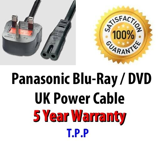 GENUINE UK Mains AC Power Lead Cord Cable Panasonic Blu-Ray DVD Player Recorder