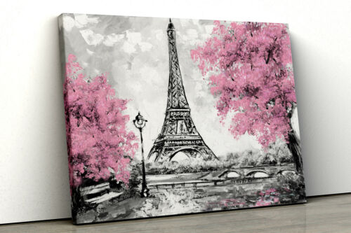 Large Pink trees black white Home Decor Nature Framed Canvas Print Wall Art mult