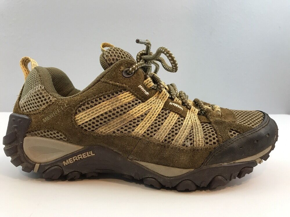 Merrell Womens Yokota Ventilator Hiking Trail Mesh shoes Brown Yellow Size 8