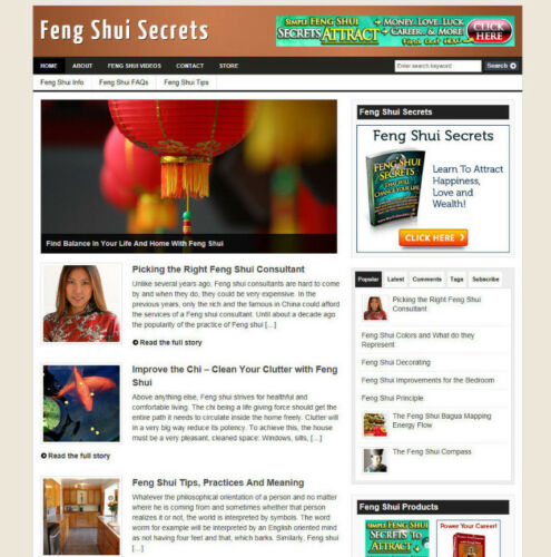 DOMAIN FENG SHUI SECRETS BLOG /& WEBSITE WITH STORE /& AFFILIATE OPTIONS
