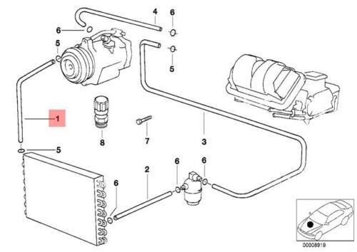 Genuine BMW E39 Sedan Wagon Refrigerant Discharge Hose Line OEM 64538386357