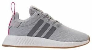 Image is loading ADIDAS-NMD-R2-WOMEN-GREY-SHOCK-PINK-BRAND-