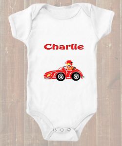 Funny Racing Car F1 Personalised Short Sleeve Baby Grow BodySuit Vest Named Gift