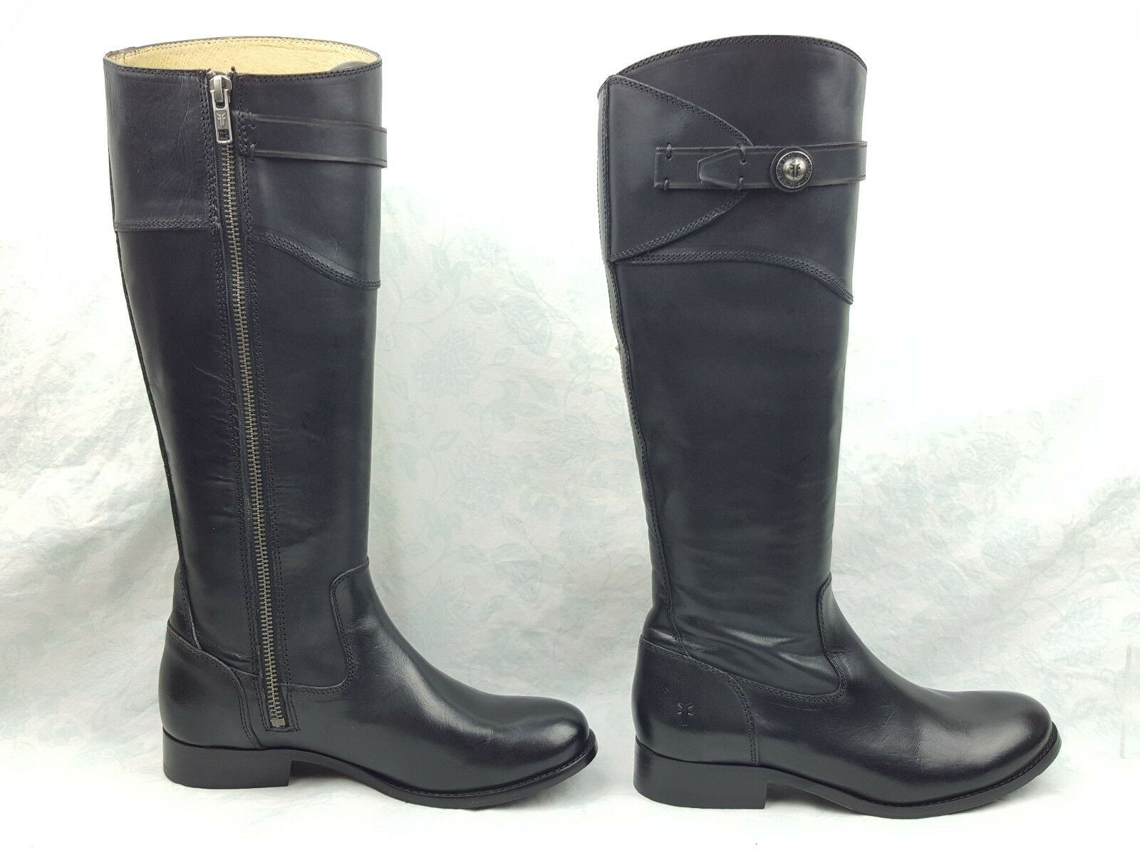 NWOB Frye Molly Button Button Button Black Leather Side Zip Tall Riding Boots Women's Sz 6B dcdc63