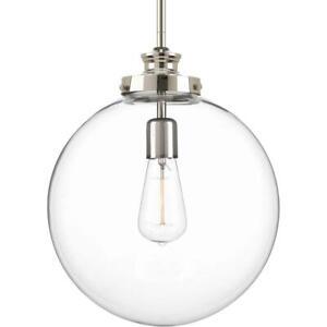 Progress Lighting Penn 12 in. 1-Light Polished Nickel Large Pendant