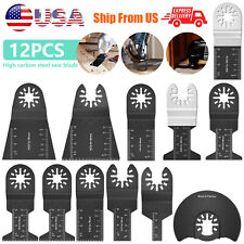 12 Set Universal Oscillating Multi Tool Saw Blades Carbon Steel Cutter Diy In Us