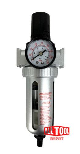 1/4 Mid Flow Air Compressor Regulator & Filter Combo w/ Gauge /Auto Drain