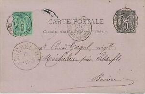 Francia 1879 10c negro a. violeta alegoría ga-tarjeta postal m 5c adición Frank.