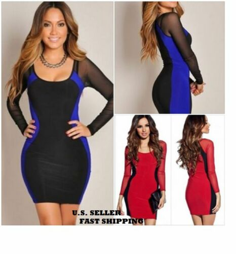 Women Dresses Hourglass Mesh Long Sleeve Mini Bodycon Club Dress Blue or Red S M