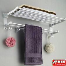 Accessotech Double Chrome Wall Mounted Bathroom Towel Rail Holder Storage Rack Shelf Bar