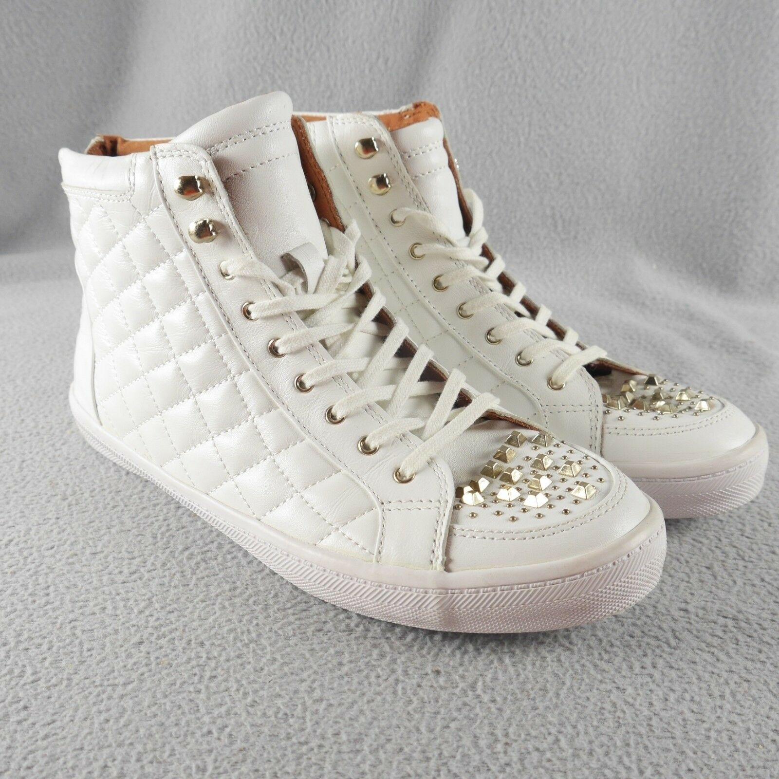 SUMMER SALE  REBECCA MINKOFF Sandi High Top WEISS Studded Sneakers Quilted ANB