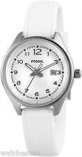 Fossil Women's AM4371 Flight Mini White Silicone Strap Watch