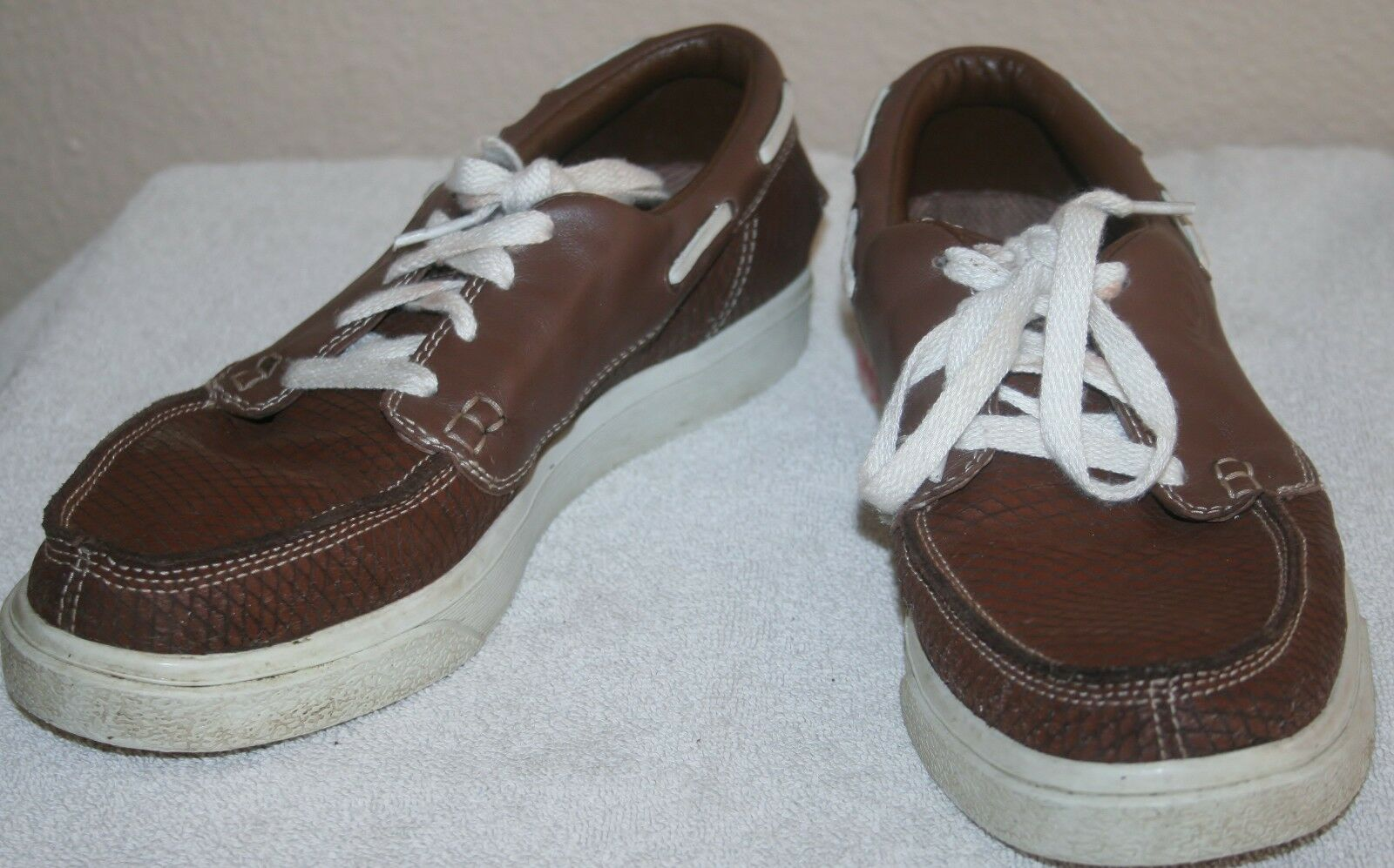 r- SHOES MENS SZ 8 LACE UP BROWN LEATHER LOAFERS LOOK GREAT EXCELLENT
