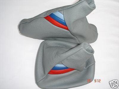 FITS BMW 3 SERIES E36 M3 91-98 SHIFT BOOT + E BRAKE GREY LEATHER M ///
