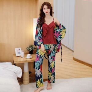 bf6debe812 Details about Vibrant Leafs Ladies Satin Vest Top With Trousers And Bathrobe  Pyjamas ladpj155