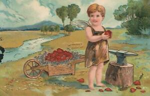 VINTAGE-EMBOSSED-GOLD-GILT-WEIRD-CUPID-MAKING-HEARTS-POSTCARD-sent-to-Casula