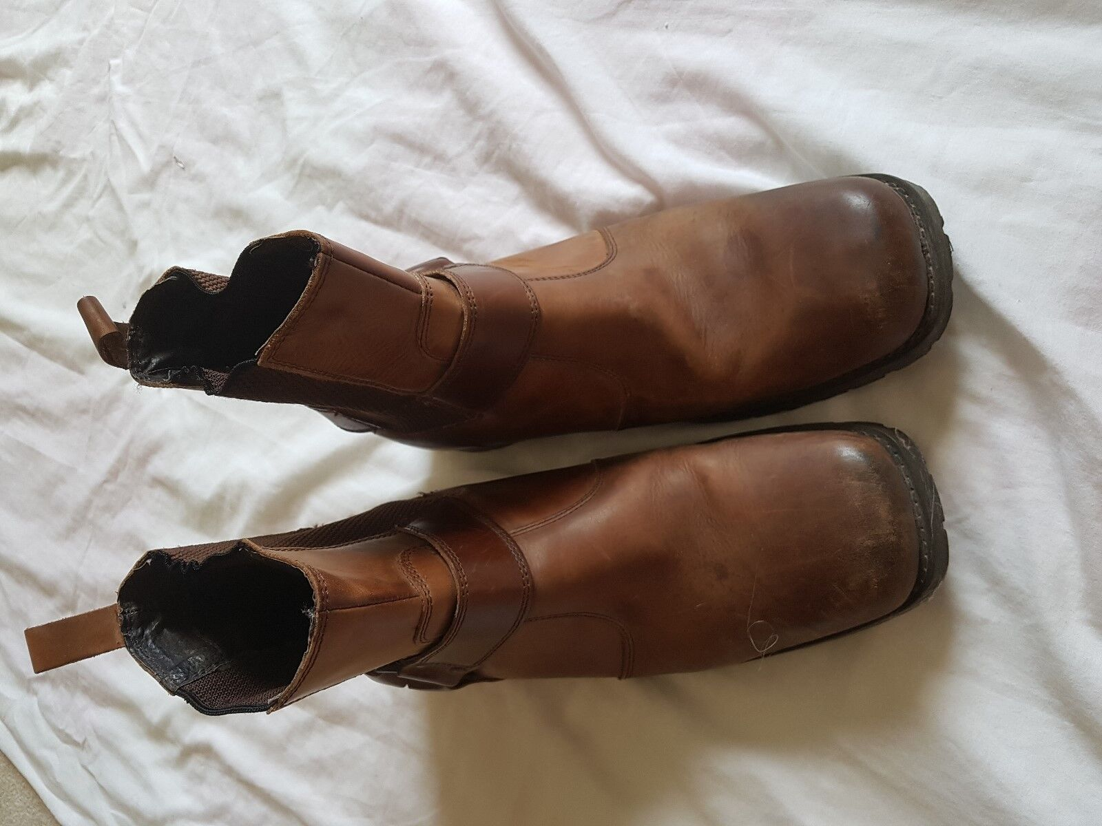 MENS UNBRANDED BROWN DISTRESSED LOOK BOOTS SIZE 6