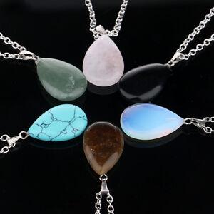 Quartz-Crystal-Gem-Natural-Stone-Chakra-Healing-Point-Waterdrop-Pendant-Necklace