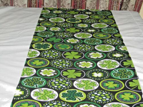 Clover Shamrocks on Circle IRISH Green White Handmade Table Runner