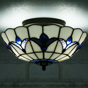 best service 3a5e6 92ae0 Details about Tiffany 3 Light Semi-Flush Mount Ceiling Lighting Lamp  Fixture Stained Glass 16