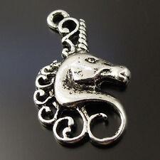Style Silver Tone Alloy Pretty fairy Unicorn Pendant Charms 22*15*2mm love gift