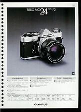 Factory 1978 Olympus Zuiko MC 24mm F2 Camera Lens Dealer Data Sheet Page