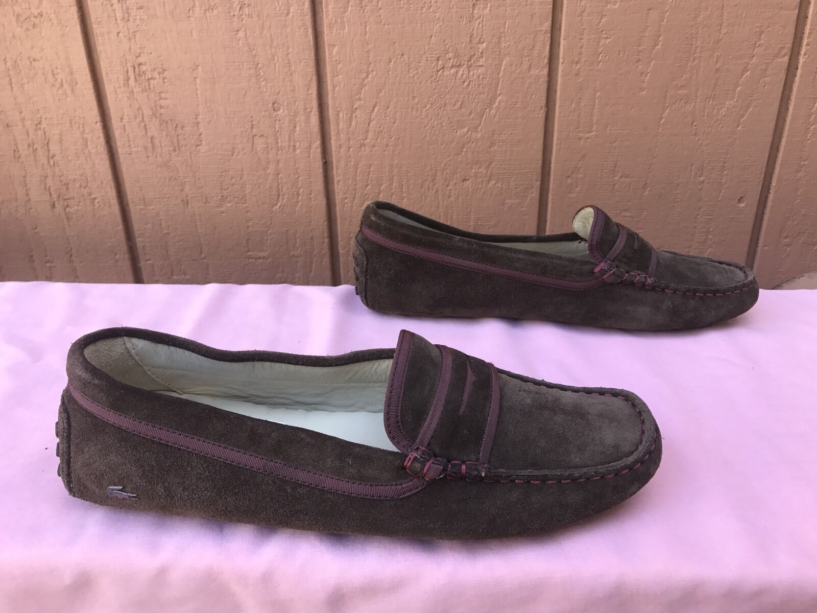 MINT Womens Lacoste Loafers Concours 3 Clw Suede Suede Suede Moccasins Brown US 8.5 EUR 40 1ac8ba