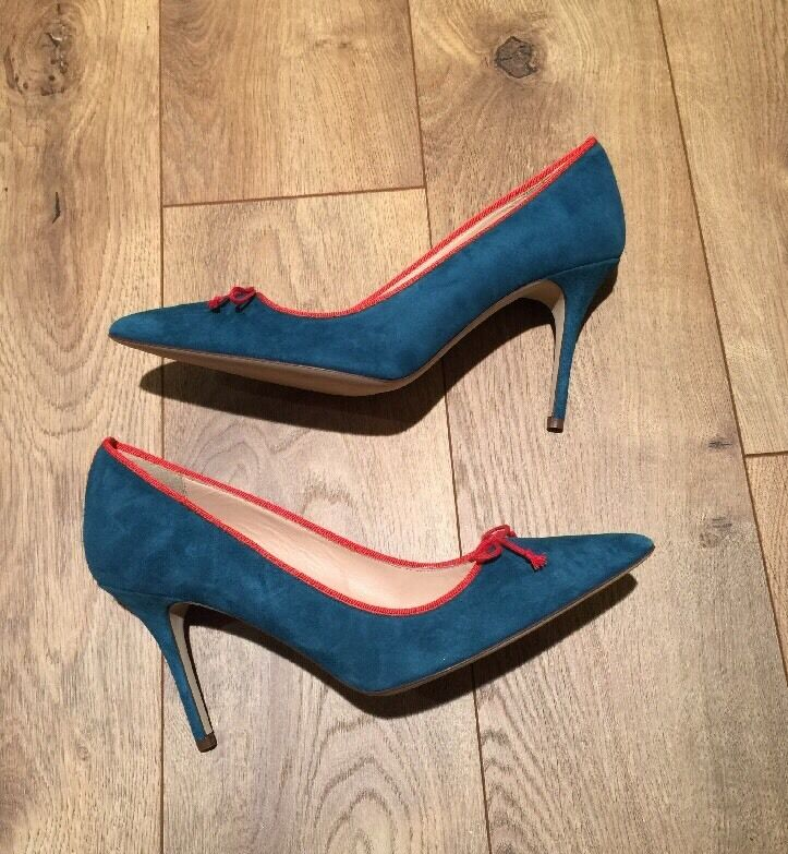JCrew Elsie Suede Pumps With contrast trim Indian bluee  248 F4868 SZ 10 NEW
