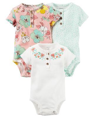Carters Infant Girls/' 3-Pack Short-Sleeve Henley Sweet Floral Bodysuits NWT