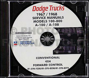 Details about 1967-1968 Dodge Truck Shop Manual CD Pickup Power Wagon on