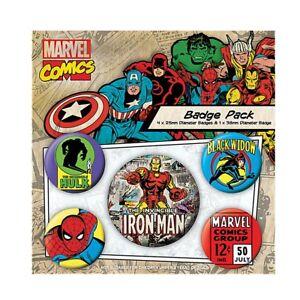 Genuine Marvel Comics Iron Man 5 Piece Badge Set Black Widow Spiderman