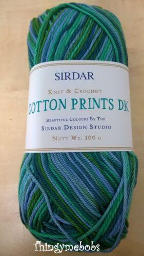 100g Balles SIRDAR COTON IMPRIME DK Laine // Fil 8 couleurs 100/% coton-été