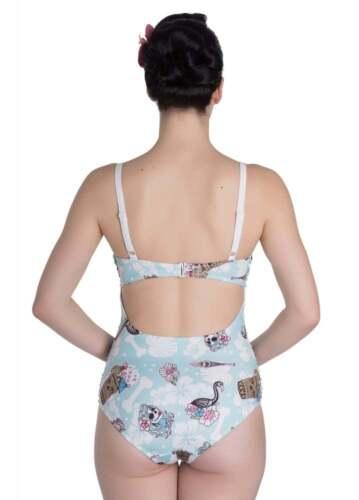 Hell Bunny Suki Retro Light Teal White Tiki Lined Swimsuit XS to XL Sizing