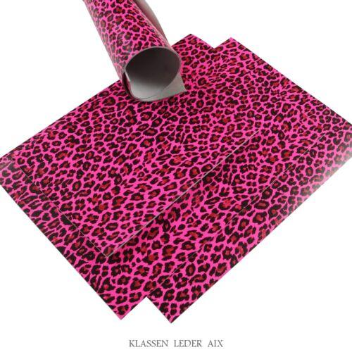 Peau de Vache Fluo Rose Léopard Design 2,4 mm dickleder a4 format Leather 52