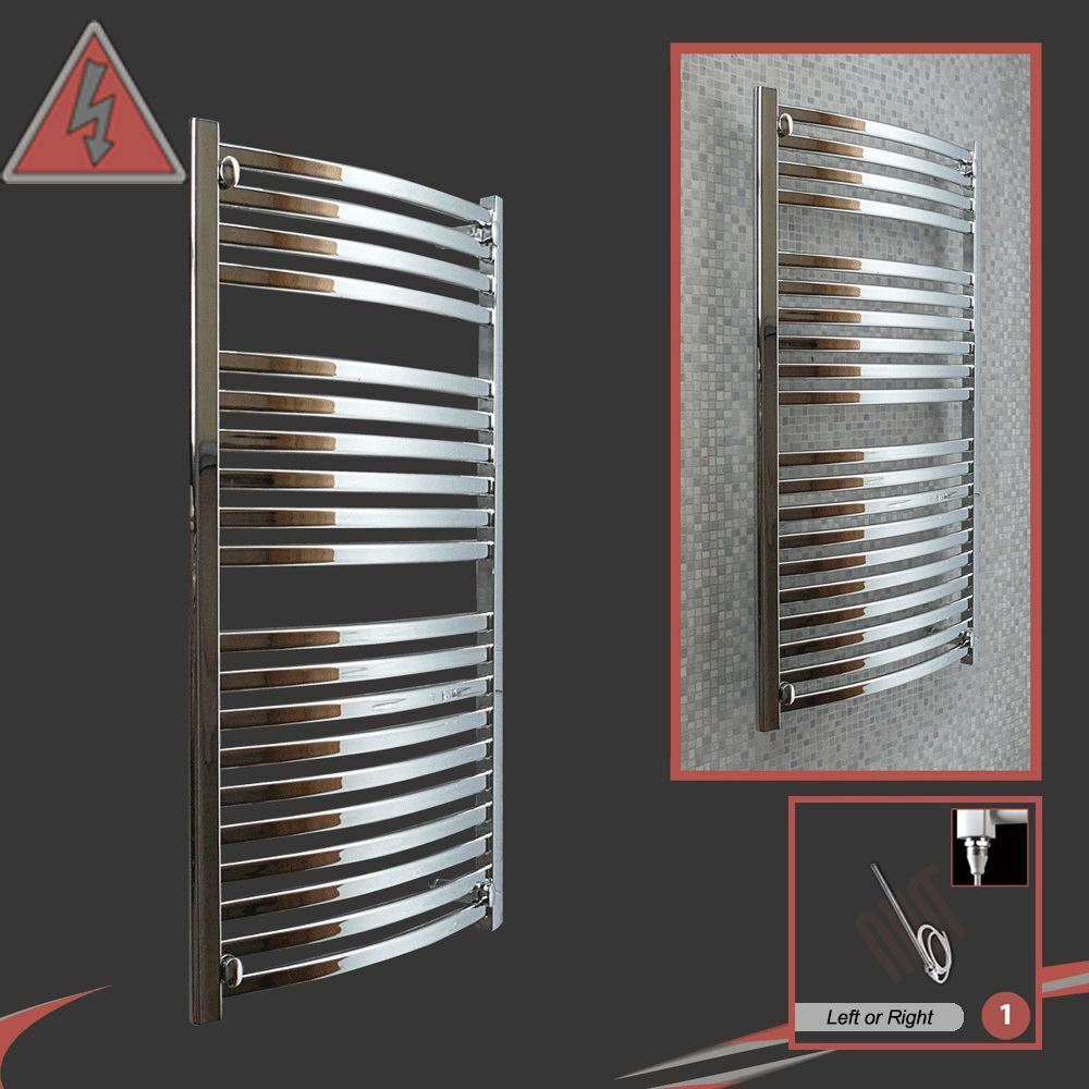 500mm(w) x x x 1100mm(h)  Ellipse  Designer Chrome Electric Heated Towel Rail - 300W bd70e3