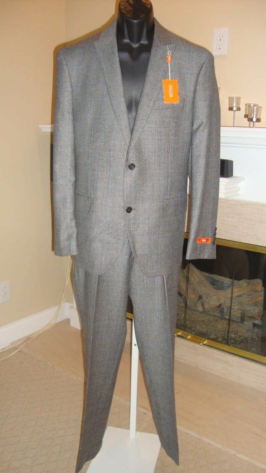 BEAUTIFUL NWT 750 TALLIA WOOL & CASHMERE Herren TWO-PIECE PANT SUIT