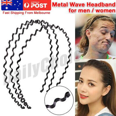 Women Men Casual Wave Hair Band Metal Plastic Elastic Hairband Headwear Black