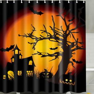 Halloween-Wasserfest-Duschrollo-Duschvorhang-Bade-Wannenvorhang-Burg-Baum-L-P