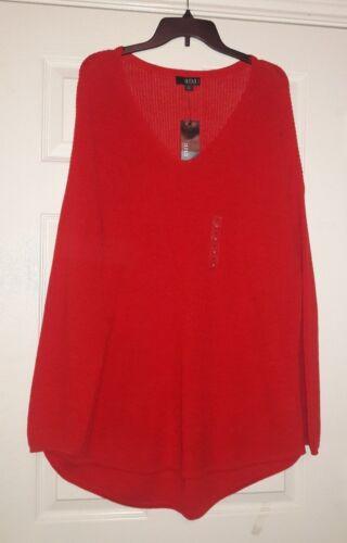 V-Neck SWEATERS Red Ivory NWT A.N.A /& Ivory Lurex  Sz/'s  XL,1X Hunter 2X